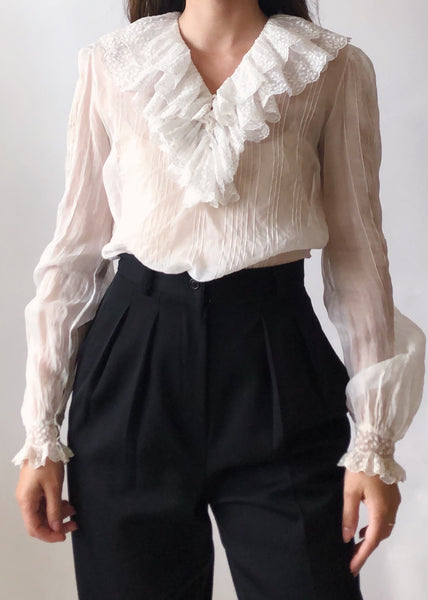 Vintage Organdy Ruffle Top