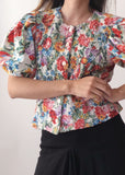 Vintage Rose Puff Cotton Blouse