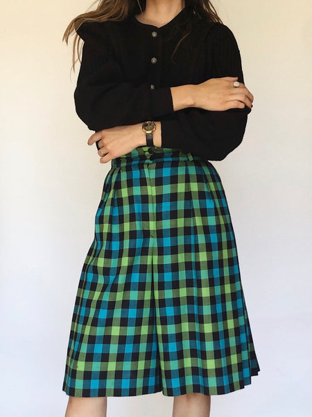Vintage Escada Wool Checkered Skorts