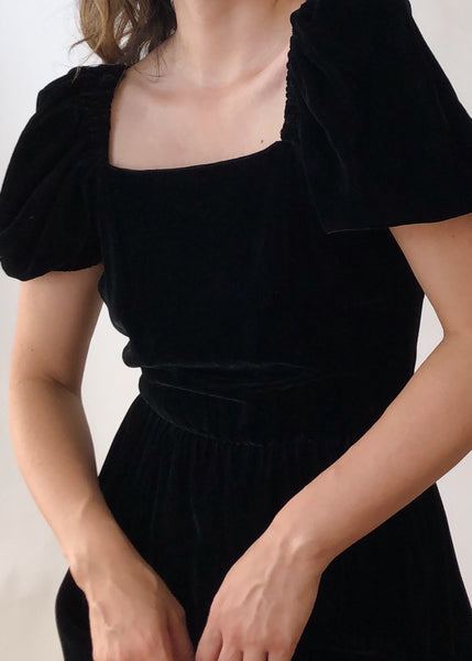 Vintage Romantic Black Velvet Dress