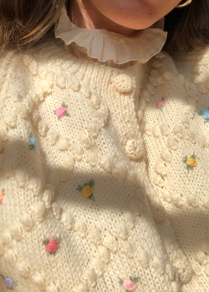 Vintage Hand Knitted English Pom Pom Sweater