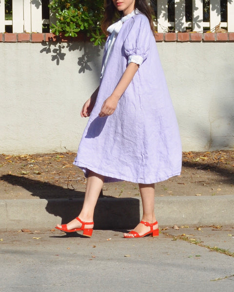 Lavender Puff Sleeve Linen Dress