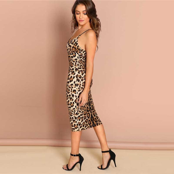 38cd23fa3772 SHEIN Multicolor Sexy Party Backless Leopard Print Cami Sleeveless Pencil  Skinny Club Dress Autumn Night Out ...