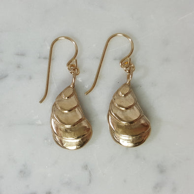 Handmade Bronze Oyster Shell Earrings on gold-filled ear wires