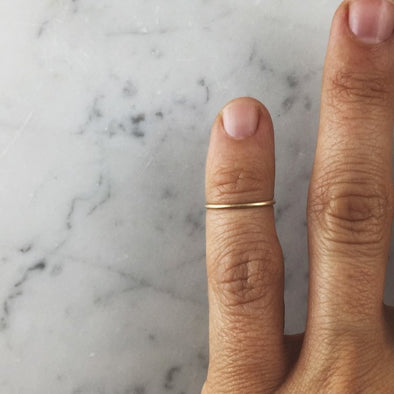 Gold-Filled Tiny Ring on Pinky Finger