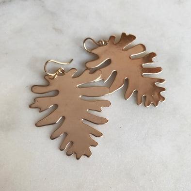 Handmade Bronze Philodendron Leaf Earrings