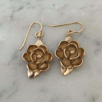 Handmade Bronze Magnolia Flower Earrings on gold-filled ear wires