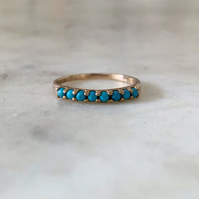 Handmade Bronze Laura Ring with 8 Turquoise Stones