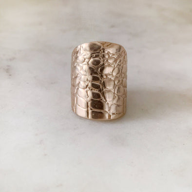 Handmade Bronze Alligator Skin Ring