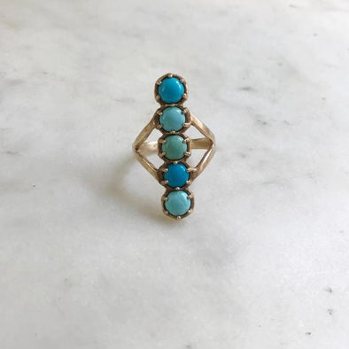 TURQUOISE 5 STONE ROW RING