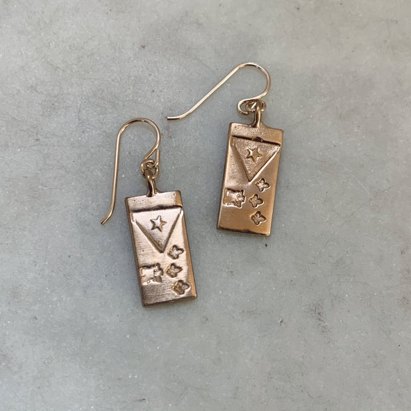 Handmade Bronze Acadian Flag Earrings with Gold-Filled Ear Wires