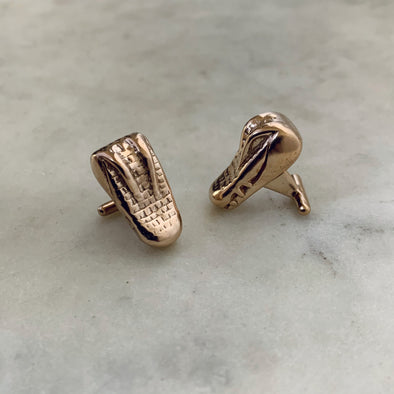 Handmade Bronze Alligator Head Cufflinks