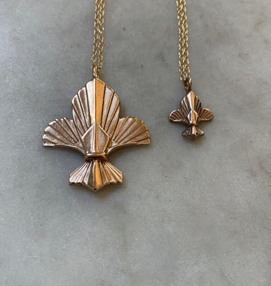 Handmade Large and Small Bronze Fleur de Lis Pendant Necklaces