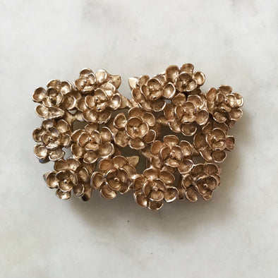 Handmade Bronze Magnolia Flower Belt Buckle
