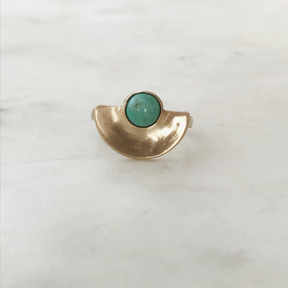 MINIMAL SEMICIRCLE TURQUOISE RING - MIMOSA Handcrafted Jewelry