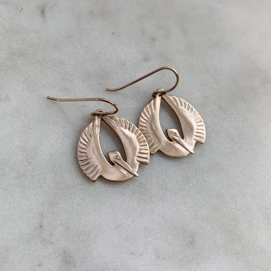 Handmade Bronze Small Pelican Rising Earrings on gold-filled ear wires