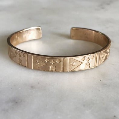 Handmade Bronze Bracelet Stamped with Acadian Flags
