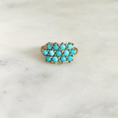 Handmade Bronze Ring set with 13 Light Blue Turquoise Stones