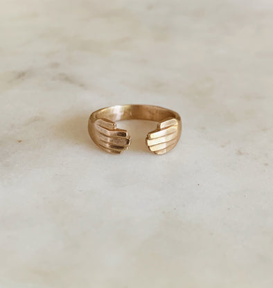 Handmade Bronze Hug Ring