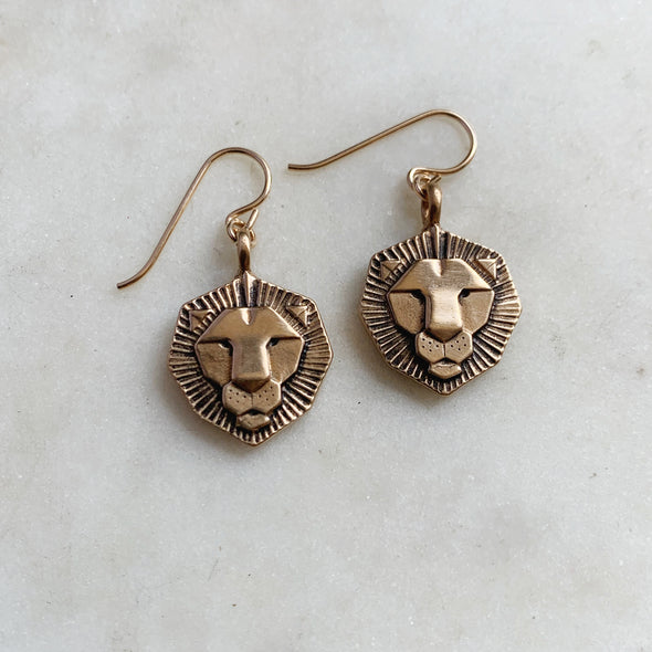 Handmade Bronze Lion Head Cufflinks on gold-filled ear wires