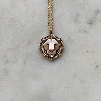 Handmade Bronze Small Lion Pendant Necklace