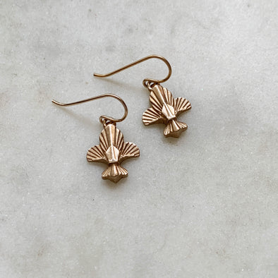 Handmade Bronze Fleur de Lis Earrings on gold-filled earwires