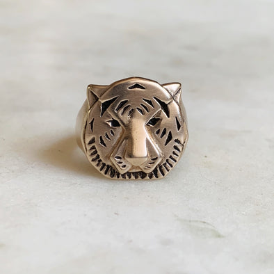 Handmade Bronze Tiger Head Ring