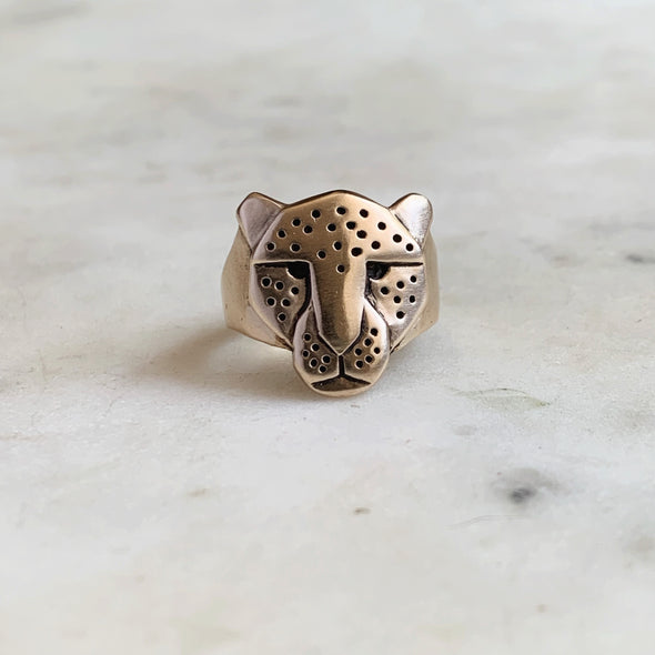 Handmade Bronze Jaguar Head Ring