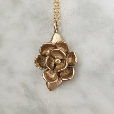 Handmade Bronze Magnolia Flower Pendant Necklace