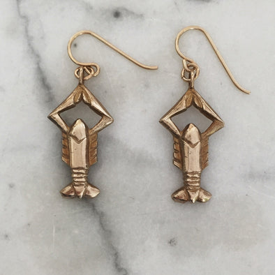 Handmade Bronze Crawfish Earrings on gold-filled earwires