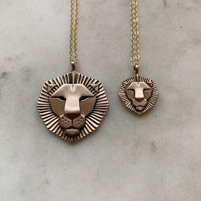 Handmade Bronze Large and Small Lion Pendant Necklaces
