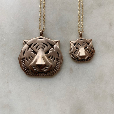 Handmade Bronze Large and Small Tiger Head Pendant Necklaces
