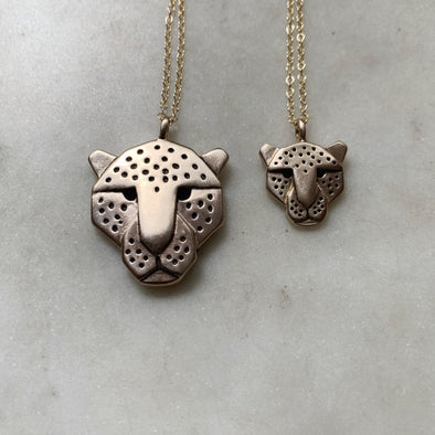 Handmade Bronze Large and Small Jaguar Head Pendant Necklaces