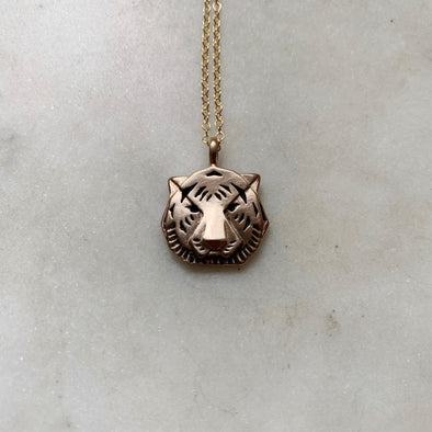 Handmade Bronze Small Tiger Head Pendant Necklace
