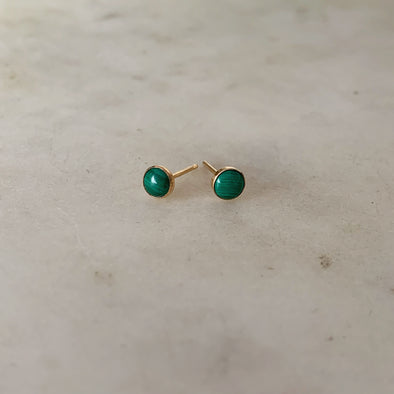 MALACHITE STUDS - MIMOSA Handcrafted Jewelry