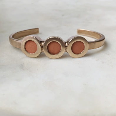 Handmade Bronze Essential Oil Diffuser Cuff Bracelet with 3 Clay Discs