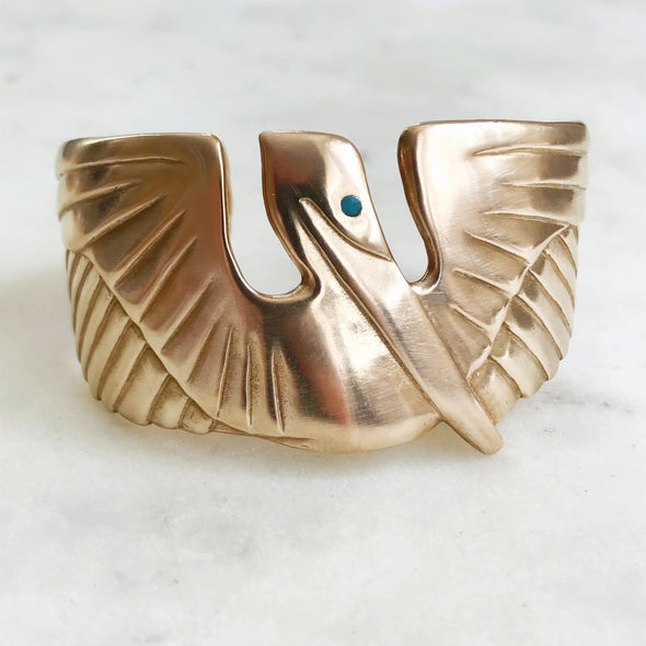 Handmade Bronze Pelican Cuff Bracelet with Turquoise Eye