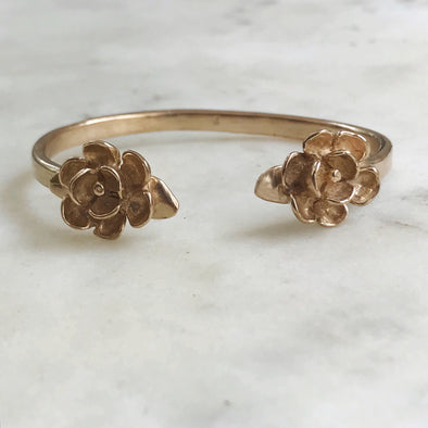 Handmade Bronze Double Magnolia Bangle Bracelet