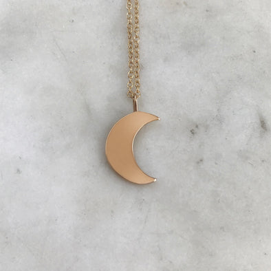 Handmade Bronze Crescent Moon Pendant Necklace