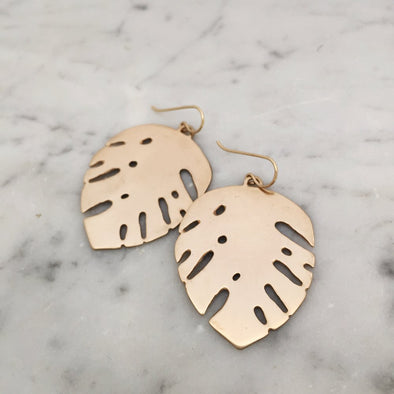 Handmade Bronze Monstera Leave Earrings on gold-filled ear wires