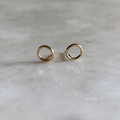Gold-filled open circle stud earrings