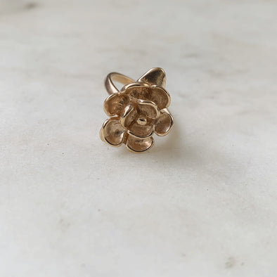Handmade Bronze Magnolia Flower Ring