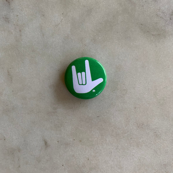 Green and White American Sign Language I Love You Button