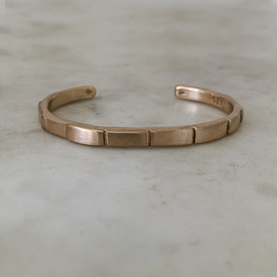 Handmade Bronze Breathe Bracelet with Indentations to help with mindful breathing exercises