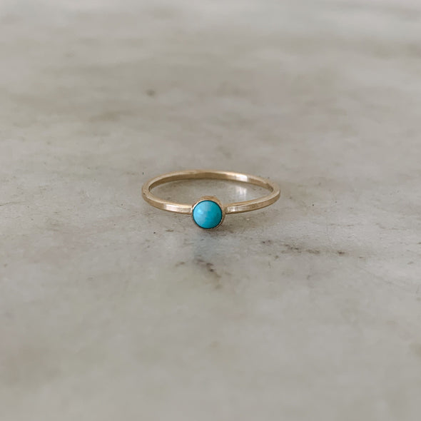 Dainty Gold Ring with One Small Blue Turquoise Stone