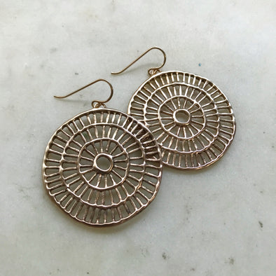 Handmade Bronze Shimmering Sun Earrings on gold-filled ear wires