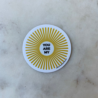 Yellow and White You Are My Sunshine Sticker