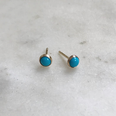 Gold-Filled Turquoise Stud Earrings
