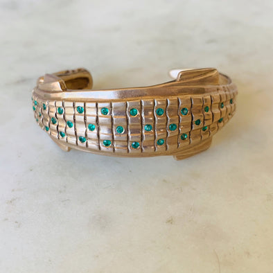 Handmade Bronze Alligator Cuff Set with 37 Emeralds and 2 Diamond Eyes