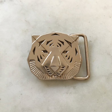 Handmade Bronze Tiger Head Belt Buckle